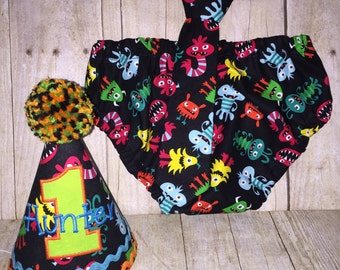 Boys Cake Smash Set - Monsters - Diaper Cover, Tie & Birthday Hat - Birthday Outfit