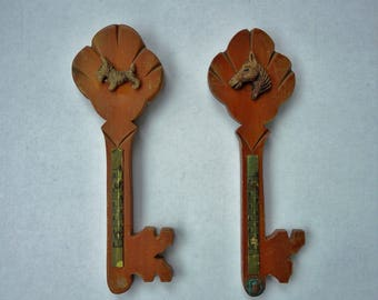 Vintage Wall Thermometer Wood Skeleton Key Wall Hangings - Set of Two