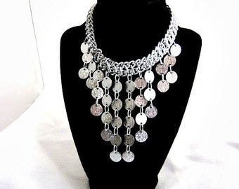 Vintage 70's Silver Tone Disc Bib Drop Necklace