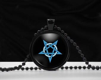 Inverted Pentagram Pendant - Pentacle Pentagram Glass Pendant jewelry Blue Pentagram on Black Background -  E001