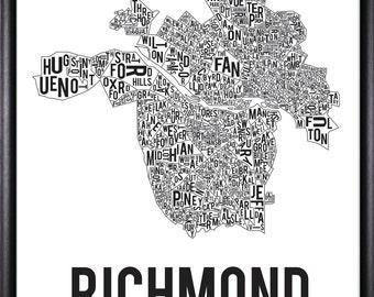 Richmond Virginia Neighborhood Typography Map-FREE SHIPPING