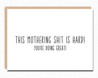 Mothers Day Card From Wife. Funny Mothers Day Card For Sister. Mother's Day From Wife Card. For Wife. LGBT. This Mothering Shit Is Hard 072