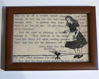 Classic Literature - Alice in Wonderland Silhouette Framed Embroidery Illustration.