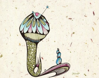 Point - 8x8 Original Illustration - ink and colored pencil drawing on flower petal paper