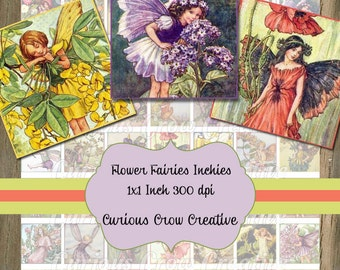 Vintage Flower Fairies Inchies Digital Collage Sheet 1 x 1 Inch Squares  INSTANT Printable Download - Jewelry, Scrapbook, Pendants
