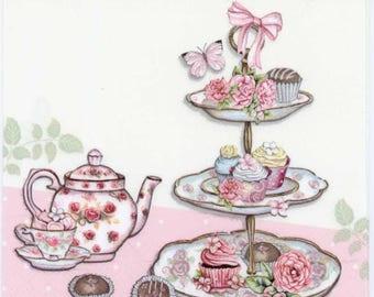 4 Decoupage Napkins | High Tea Cupcakes Roses Butterflies | Lunch Napkins | Tea Napkins | Cupcake Napkins | Paper Napkins for Decoupage