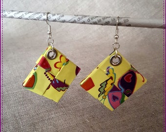 Earrings-pierced multicolor on yellow background