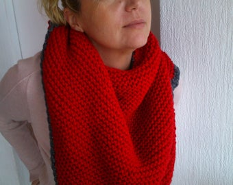 Red hand-knitted shawl