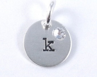 Hand Stamped Initial charm with Birthstone
