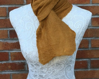 cobweb felted scarf antique gold mustard yellow