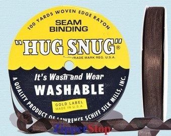 "COLONIAL BROWN - Hug Snug Seam Binding - 100 yard roll 1/2"" Wide - 100% Woven-Edge Rayon - Schiff"