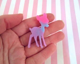 3 Color Glittery Multicolor Kawaii Deer Cabochons, Cute Animal Cabs #476