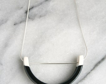 Black and white ceramic sterling silver pendant necklace // semi circle pendant // minimalist necklace // everyday / geometric jewelry