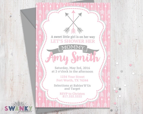 Arrow baby shower invitations pink and gray baby shower filmwisefo