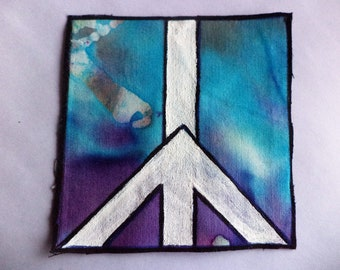 Peace Sign Patch,Peace Sign Art,Boho Patch,Hippie Patch,Handpainted Patch,Patches for Backpack,Sew on Patch for Jeans,Patches for Jacket