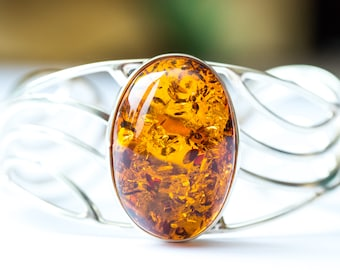 Large Baltic Amber Bangle, Amber Bangle, Amber Arm Cuff, Classic Amber Jewellery, Statement Jewellery, Statement Bracelet, Sterling Silver