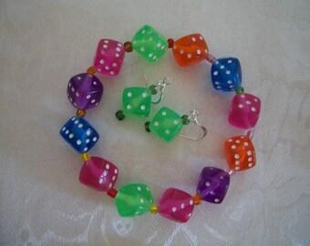 Casino Jewelry, Dice Earrings, Dice Bracelets, Pet Collar, Zipper Pull,  Dice Jewelry Set,  Party jewelry, by Brendas Beading on Etsy