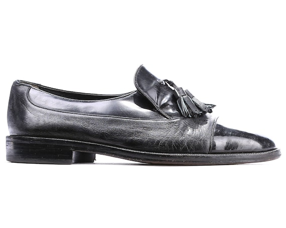 BALLY On Cap women Black Eur 7 Shoes Leather US 80s Unisex Tassel UK Slip 40 Toe Euwopean Loafers Quality mens Luxury 10 Us 8 Shoes ZzxdXPqww