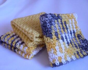 Yellow Dishcloth Set of 3, Crocheted Dishcloths