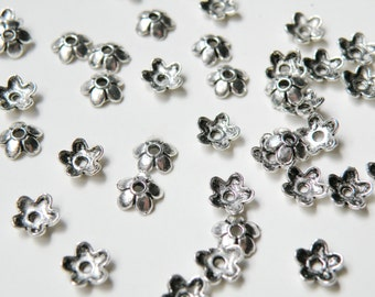 50 Small Flower Bead Caps antique silver 6x6mm DB19897
