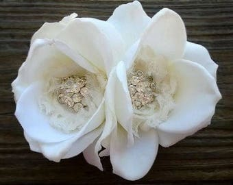 Clara- Life like rose, bridal rose clip, bridal hair flower, ivory bridal rose clip, ivory rose clip, bridal accessories, bridal flower clip