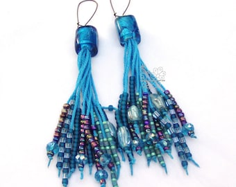 Turquoise long fringe earrings tassel statement earrings bohemian fringes boho style gift for girlfriend