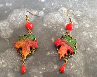 """Earrings """"autumn leaves carried by the wind... """""""