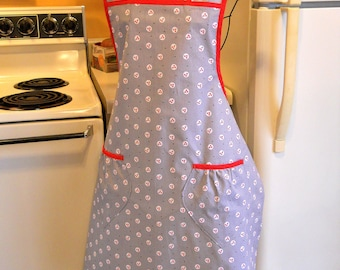 Old Fashioned Full Apron in Gray and Red 1930's Reproduction Fabric