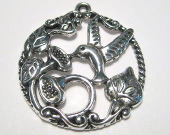 Antique Silver Round Hummingbird Flower Hollow Charms Pendants 34mm