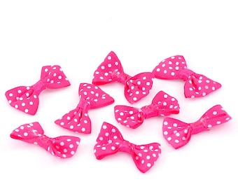 Set of 8 bows grosgrain pink fuchsia dot 38x23mm