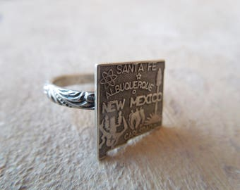 New Mexico Map Sterling Silver Ring Handmade