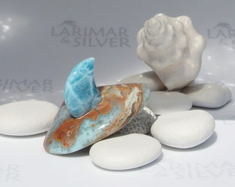Larimar for men by Larimarandsilver, Wild Sea 2 - sea blue and red Larimar art, shark fin, turtleback, gift for him, surf pendant, handmade