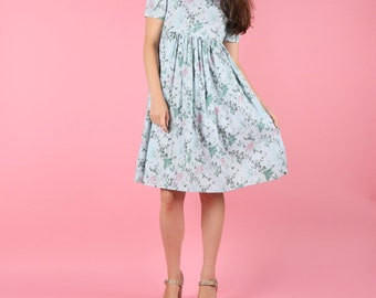 Pretty 80s Vintage Blue Floral Baby Doll Dress
