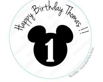 Mickey stickers Party Personalized Happy Birthday Name and Age PRINTED round Stickers, tags, Labels or Envelope Seals  A726