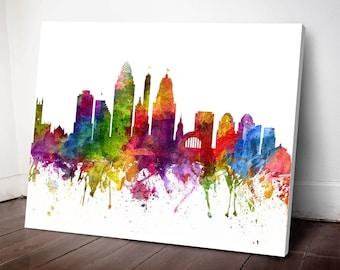Cincinnati Skyline Canvas Print, Cincinnati Art, Cincinnati print, Cincinnati Cityscape, Home Decor, Gift Idea, USOHCI06C
