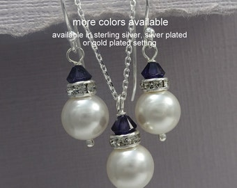 Navy Bridesmaid Gift, Swarovski White Pearl and Navy Blue (Dark Sapphire) Crystal Jewelry Set, Navy Jewelry Set, Custom Bridesmaid Jewelry