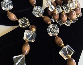 Gorgeous Miriam Haskell Necklace Bracelet Set~Lucite/Wood Beads~Signed