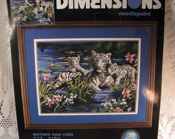White Tiger Mother Cubs Needlepoint Stitchery Kit New Needlework Picture Wall Art Decor Dimensions 2000