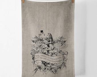 Alice Wonderland Flamingo 100% linen screen printed tea towel