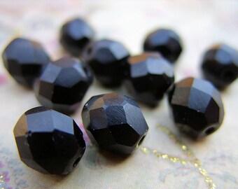 Matte Black Czech Crystal Beads - 8MM - B-8008
