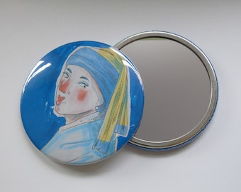 Illustrated Pocket Mirror/ Compact Mirror 76mm inspired by 'Girl With A Pearl Earring' by Johannes Vermeer