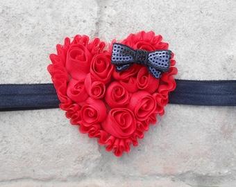 Valentines day heart headband, Red shabby chiffon heart headband, heart headband, sparkly sequin bow, girls Valentines day headband