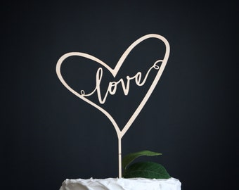 love wedding cake topper | heart wedding cake topper | wood cake topper | love cake topper | rustic cake topper topper | heart cake topper