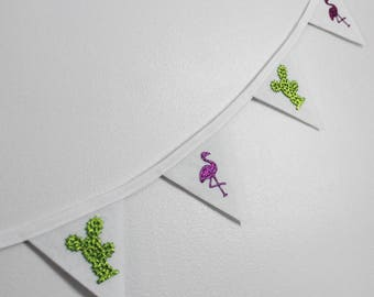 Flamingo and Cactus Bunting - Flamingo Bunting - Cactus Bunting - Mini Bunting - Ready to ship - Party banner