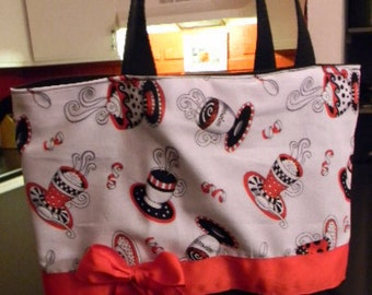 White Red & Black Whimsical Coffee Purse Tote BAG or Diaperbag