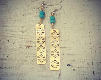 Southwestern inspired handstamped earrings | southwestern | handstamped | handstamped earrings | handmade earrings | southwest inspired