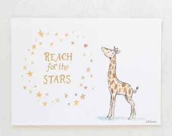 Jungle nursery, giraffe art, Reach for the Stars Giraffe, giclée print, Kit Chase artwork, 5x7, 8x10, 11x14