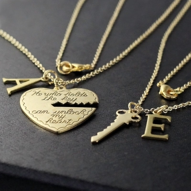 set pendant or valentines special new heart for aliceandtinajewelry and gifts etsy personalized girlfriend gold day with silver initials key couple shopping shop boyfriend necklace