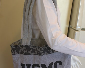 USMC Marine Corps T-Shirt Tote Bag, Handmade, Gray Urban Camouflage, Upcycled, New, Homemade, Recycled, Devil Dogs