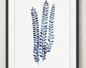 Indigo Fern Watercolor Painting, Leaves Botanical Art Print, Minimalist Blue Alpine Water Fern, Blechnum Penna-Marina, Antarctic Hard-Fern